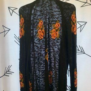 Black & floral cardigan